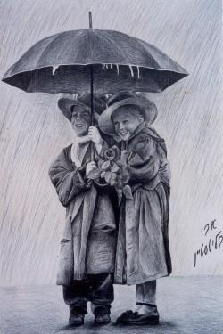 רישום בעיפרון - ילדים בגשם - אבי בליטשטיין