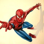 ציור של ספיידרמן מטפס על קיר בחדר נוער