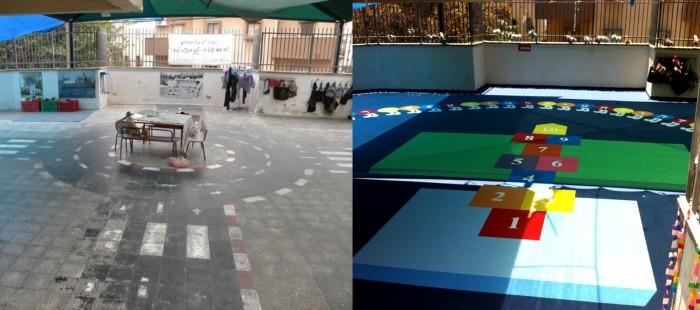 רצפת גן ילדים לפני ואחרי ציור